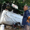 Four men miraculously survive when a ten wheel water tanker flattened a sala they were sitting in