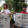 Smattering of Yangon protests greet Thai PM over Koh Tao murder case