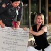 Annie Hansen mother of Australian bashed in Green Mango stages protest outside parliament house