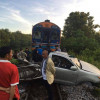 Pickup hit by train after driver took GPS advice