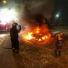 Dramatic footage as car bursts into flames – but driver escaped death