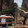 Disgraceful! Tourists doing the reverse splits at Ayutthaya ruins!