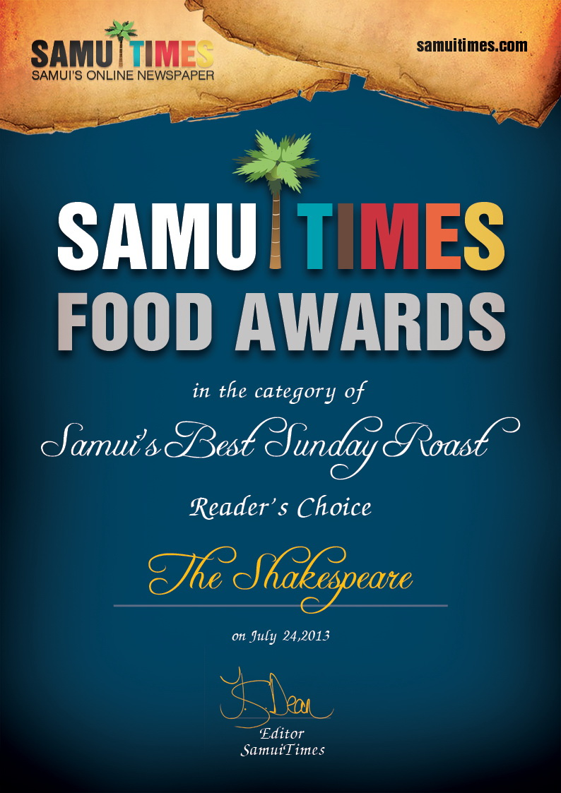 The Shakespeare Bar wins two readers choice categories | Samui Times