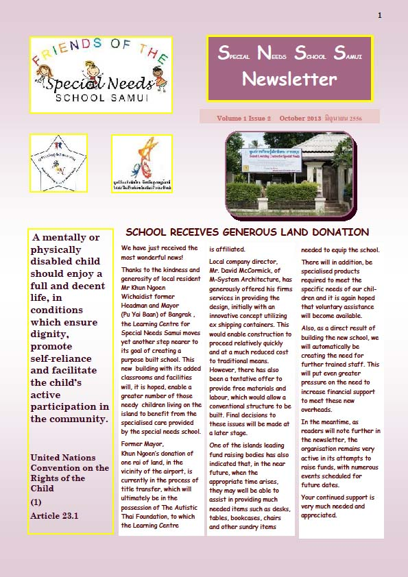 Special Needs News Letter Volume 1 Issue 2   Samui Times