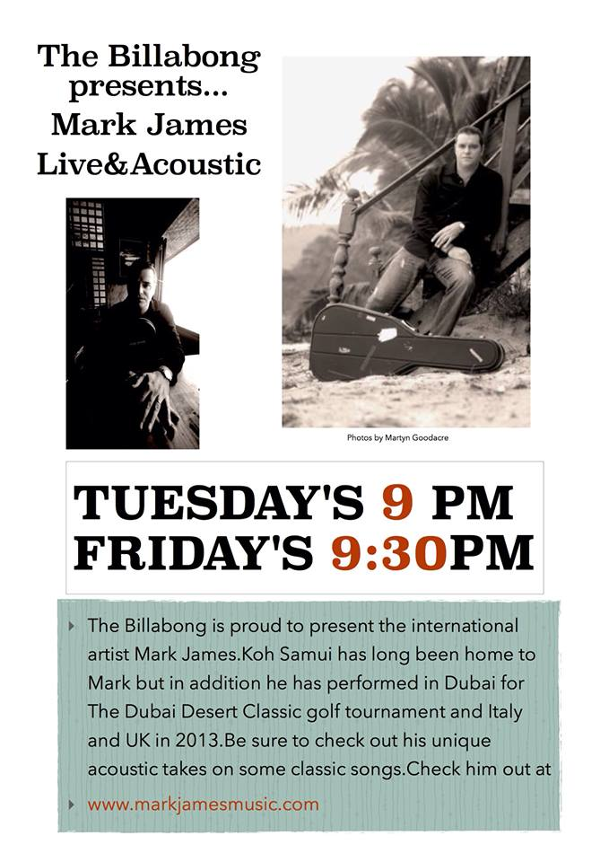 Entertainment from the talented Mark James on Tuesdays and Fridays | Samui Times