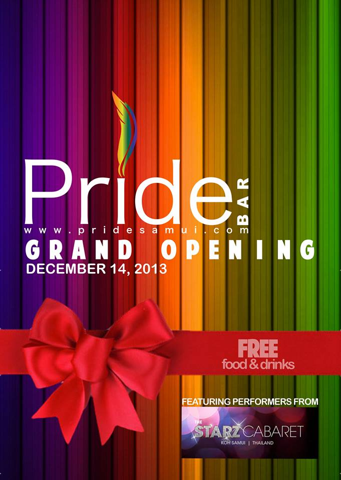 Pride Bar grand opening party to be held on 14th of December | Samui Times