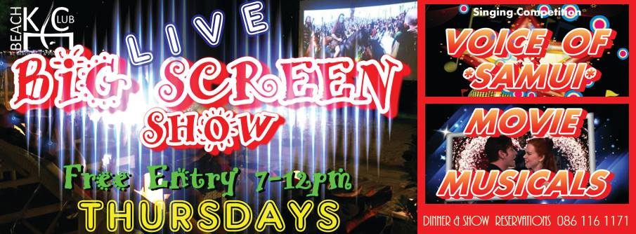 Don't miss the Live Big Screen Show this Thursday at the KC Beach Club   Samui Times