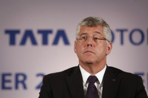 File photo of Karl Slym, managing director of Tata Motors, looking on during news conference in Mumbai