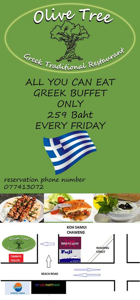 Friday nights 'all you can eat' buffet at the Olive Tree Greek Traditional Restaurant | Samui Times