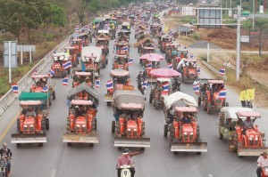 rice farmers tractor convoy