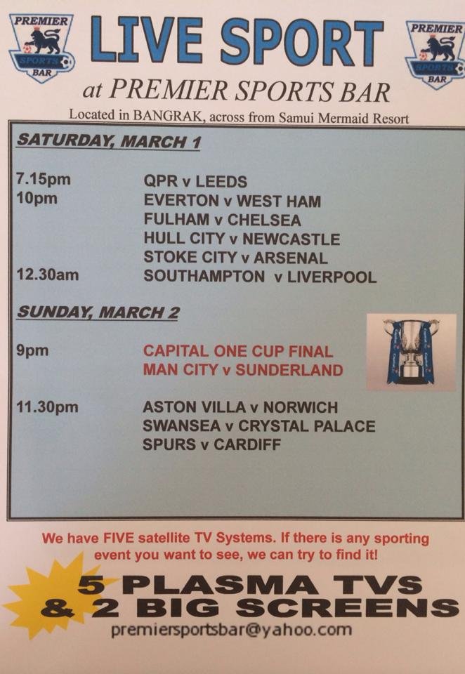 Live Sport at the  Premier Bar 1