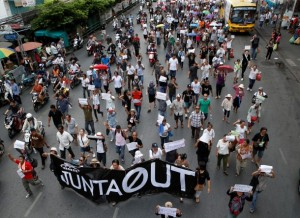 Demonstrators against military rule march towards the Victory Monument in Bangkok