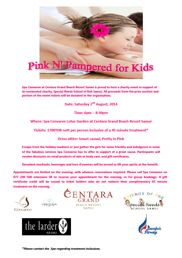 Pink and Pampered for Kids event at the Centara | Samui Times