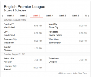 EPL times