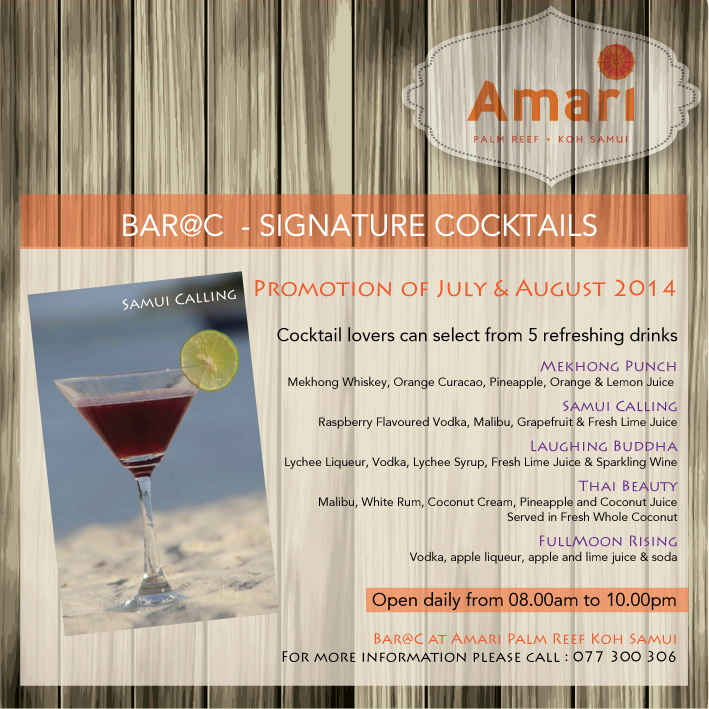 Amari Palm Reef – Signature Cocktails August 2014 Promotion | Samui Times