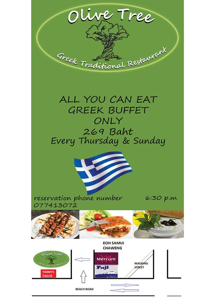 Great news for lovers of Greek food – all you can eat buffet now on Sunday as well | Samui Times