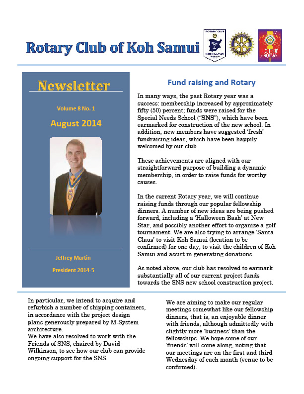 Rotary Club News Letter August 2014 | Samui Times