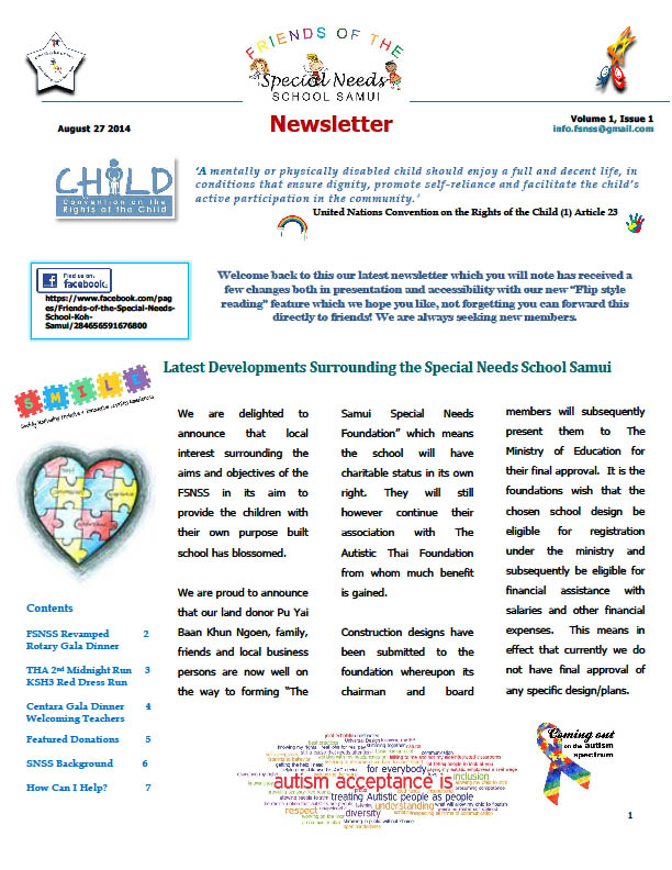 August 2014 Friends of the Special Needs School Newsletter | Samui Times