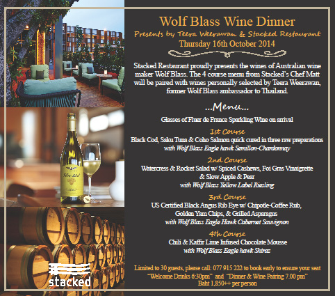 Stacked restaurant proudly presents A Wolf Blass Wine Dinner on Thursday 16th October 2014 | Samui Times