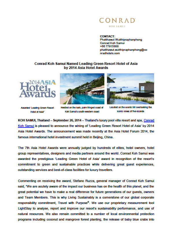 Conrad receives prestigious award in the Asia Hotel Awards 2014 | Samui Times