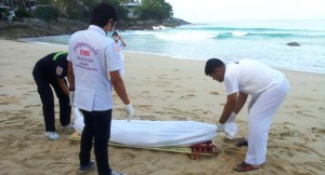 dead body washes up on the beach in Koh Phanang