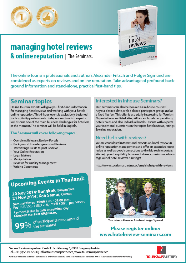 Seminar event about hotel reviews and professional management of guest feedback to be held in Koh Samui | Samui Times