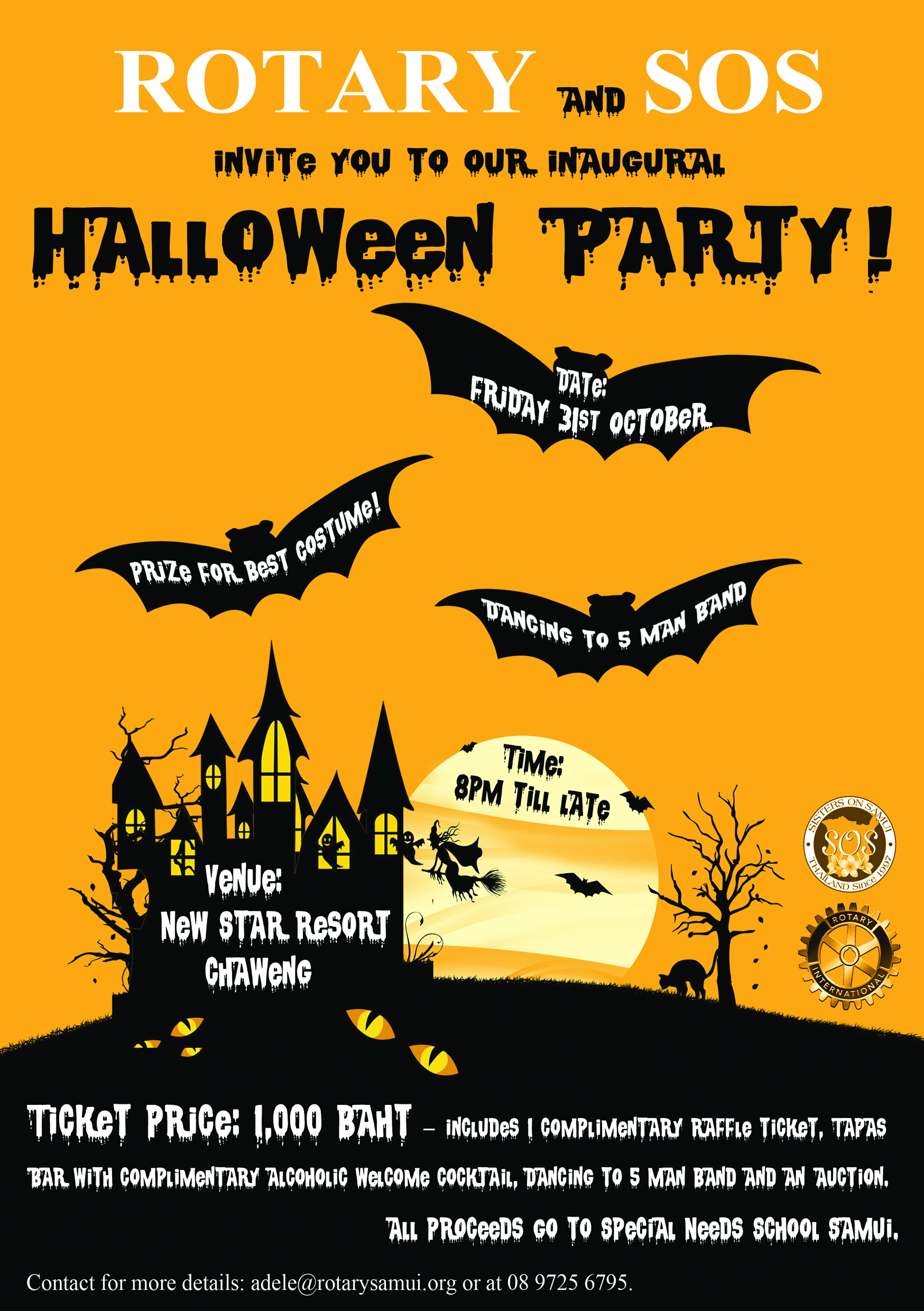 The Rotary and SOS invite you to the biggest Halloween Party | Samui Times