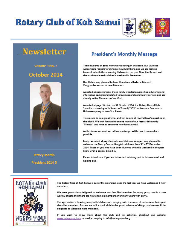 October News letter for friends and supporters of Rotary | Samui Times