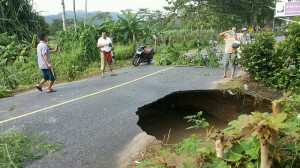 huge hole in the road