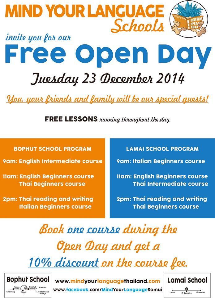 Free Open Day at Mind Your Language – tomorrow 23rd of December | Samui Times