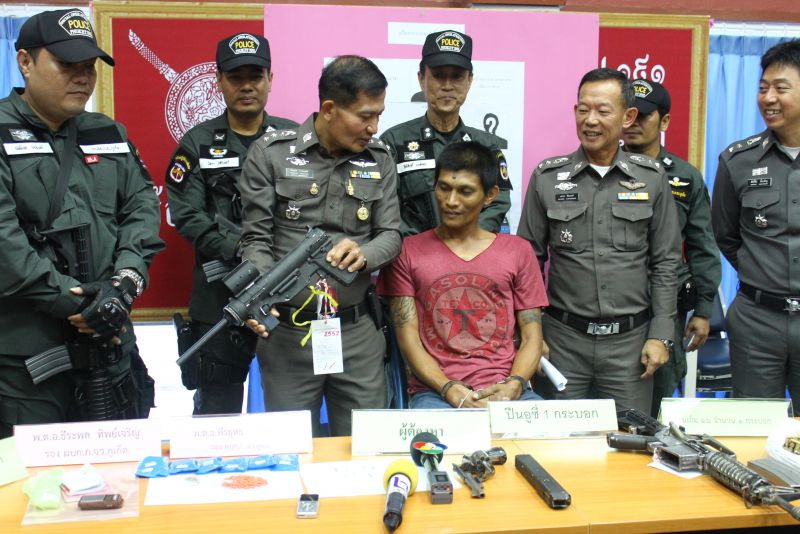 Wanted Phuket drug kingpin busted with meth, pistol, M16 and ammunition   Samui Times