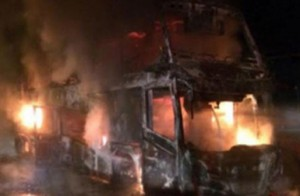 bus bursts into flames in Surat