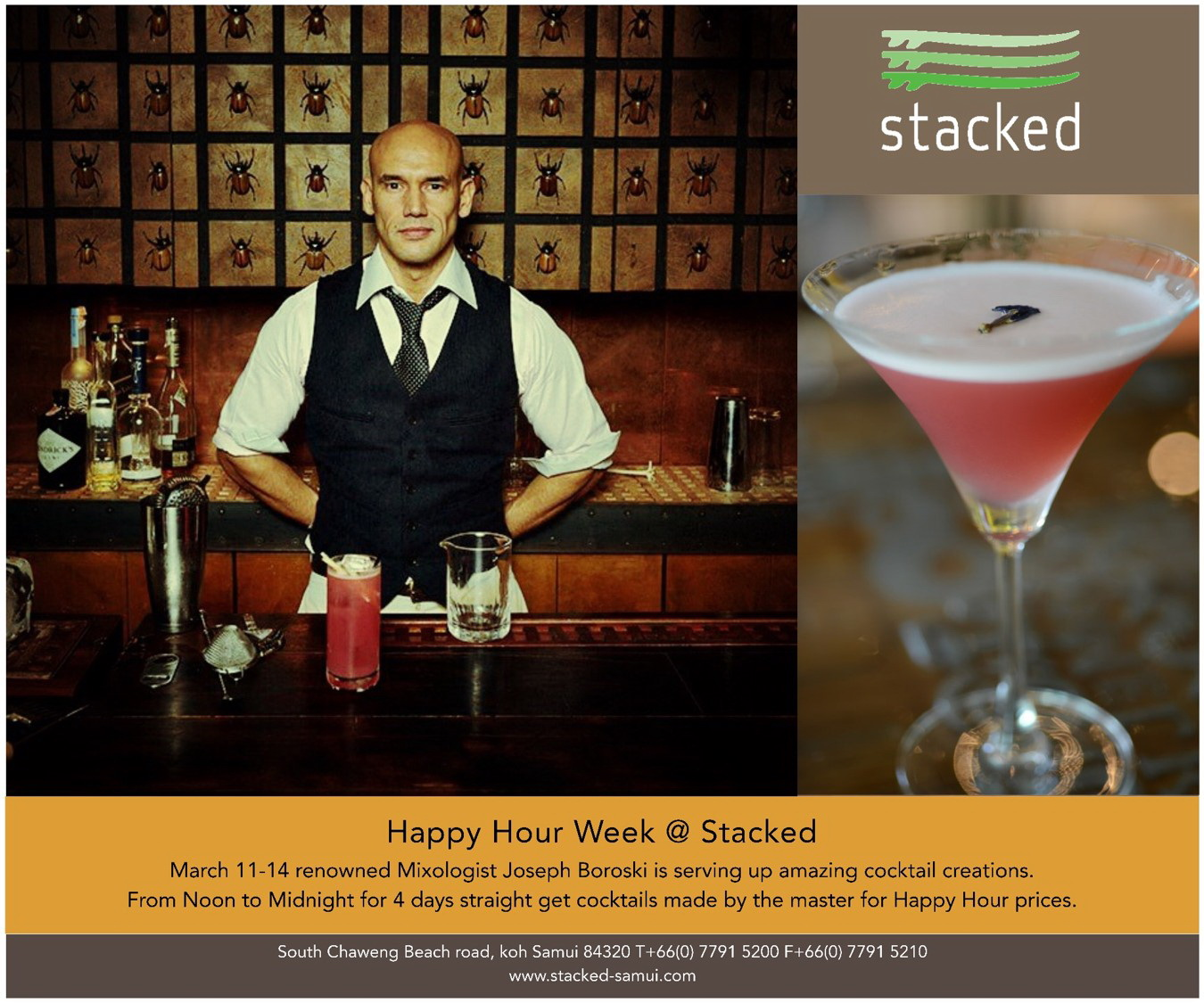 Happy Hour event at Stacked at Ozo March 11th – 14th with master Mixologist | Samui Times