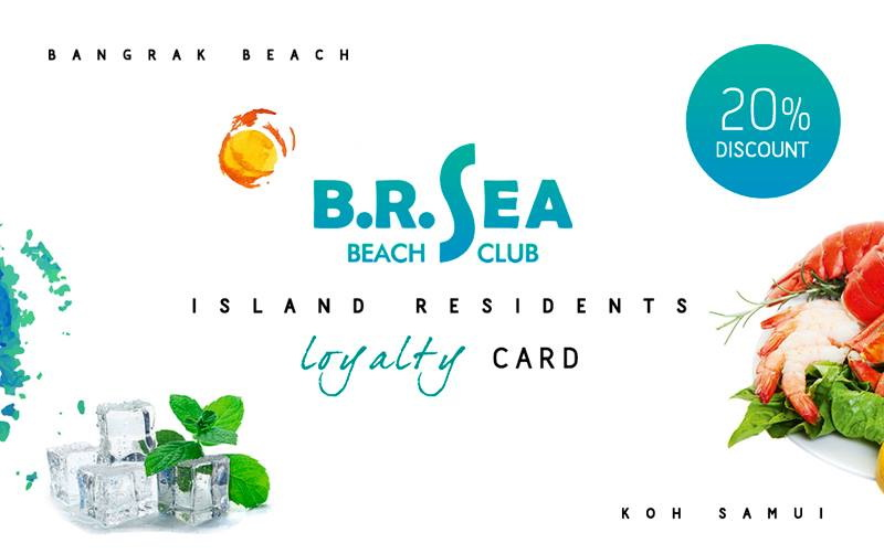 BR Sea Beach Club in Bangrak offers 20% discount cards to