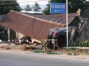 car flips in to a house in Samui