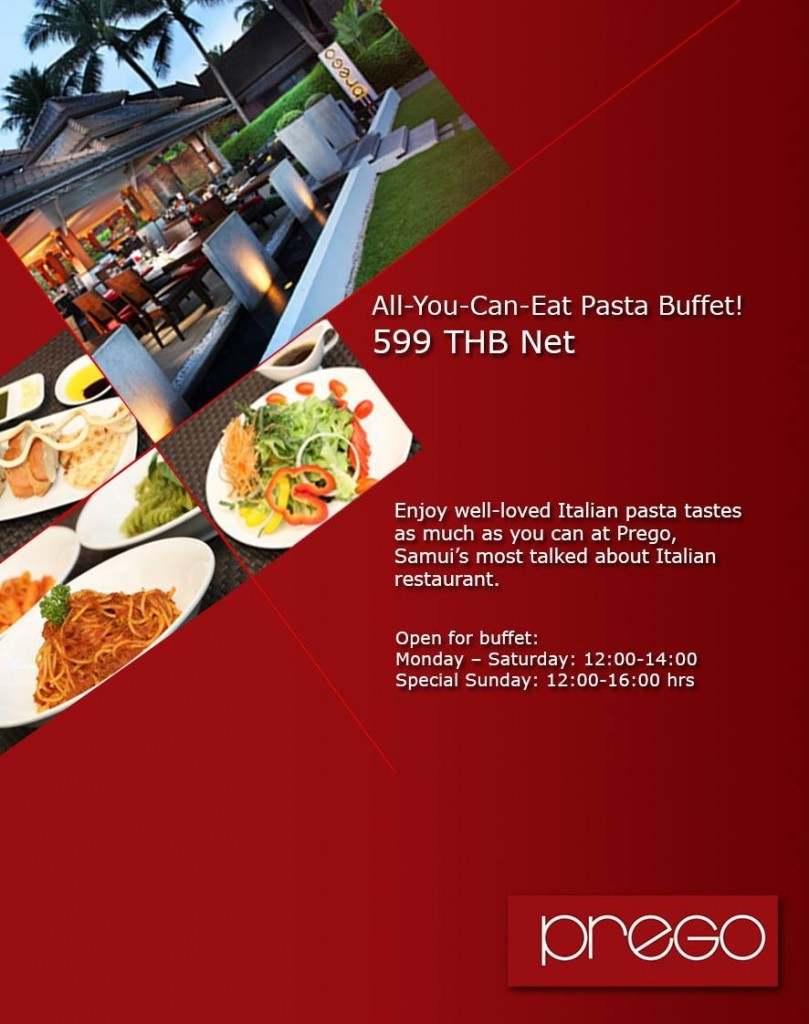 pasta buffet at prego
