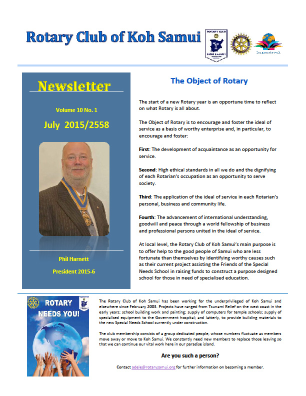 July newsletter from the Rotary | Samui Times