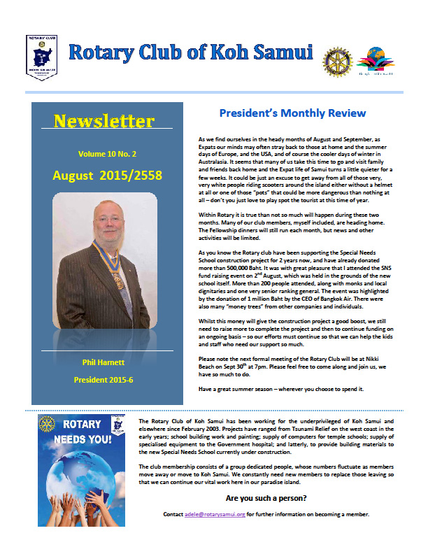 August Newsletter from the Rotary Club of Koh Samui | Samui Times