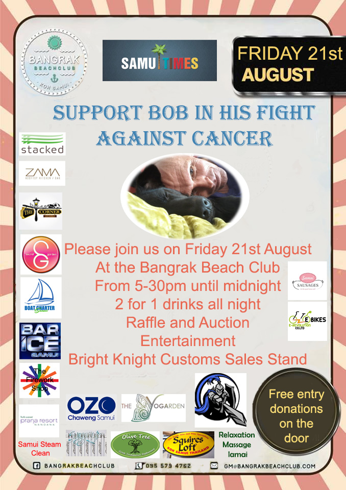 support bob in his fight against cancer poster