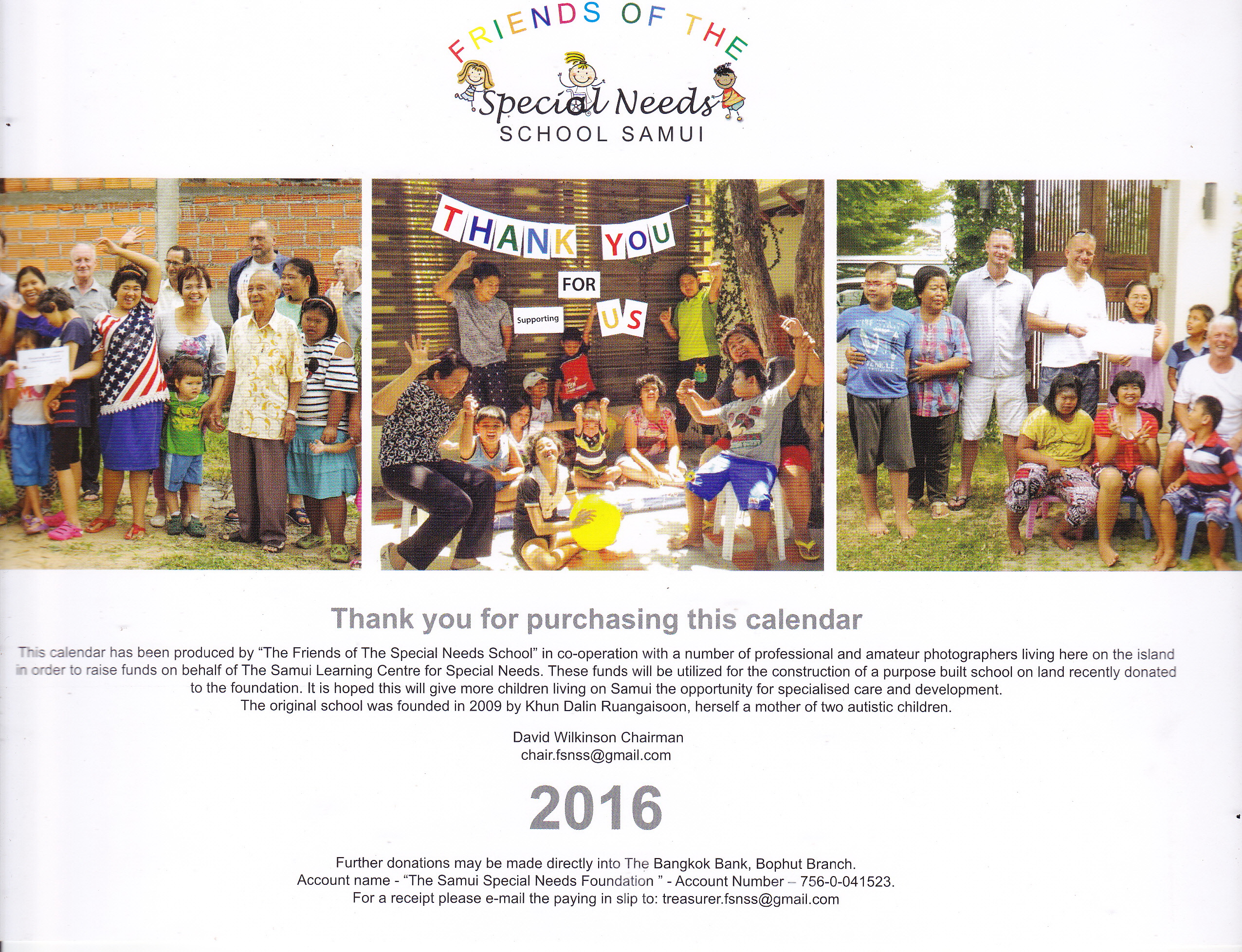 Friends of the Special Needs School 2016 Calendar now available | Samui Times