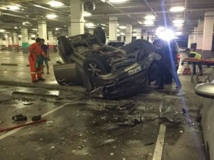 pick up truck falls off central festival car park