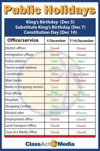 public holiday chart