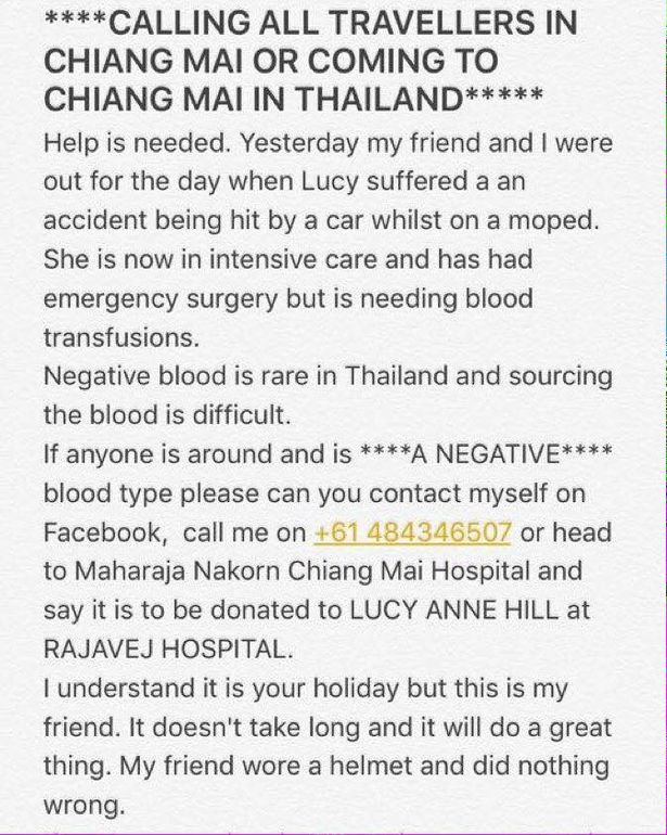 Urgent request for A negative blood in Chiang Mai for Brit involved in bike accident | Samui Times