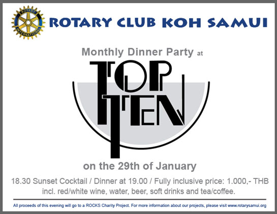 You are warmly invited to join us at the first Rotary Club Fellowship Dinner of 2016 | Samui Times