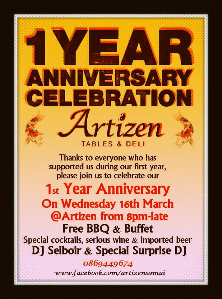 Artizen are celebrating their first anniversary and you are invited to join them | Samui Times