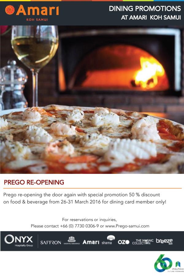 50% discount opening special to all Ozo/ Stacked and Amari/ Prego dining card members! | Samui Times