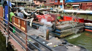gas explosion on Bangkok river taxi