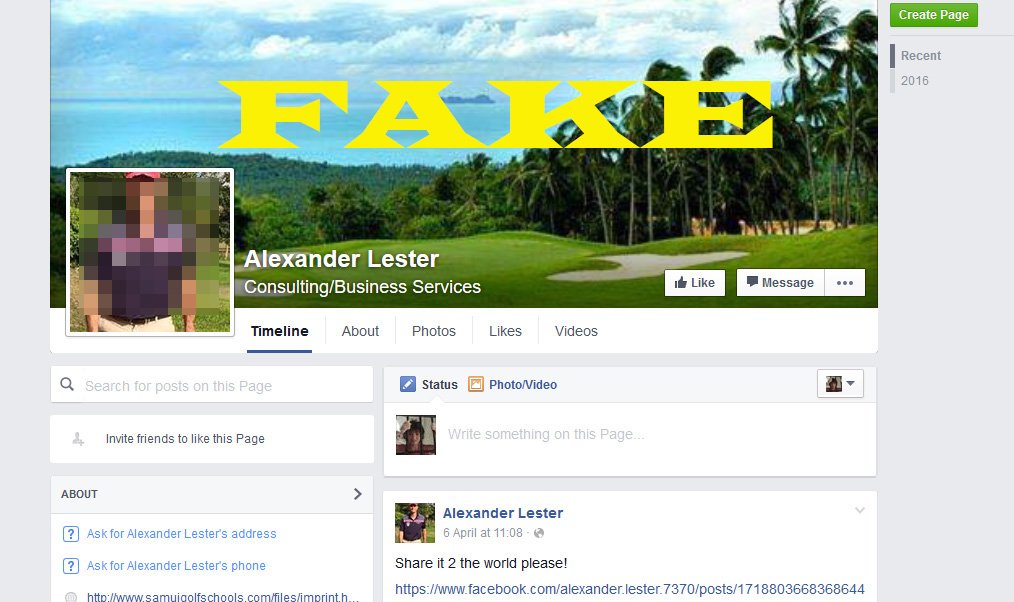 Imposter Facebook accounts appear of Samui residents