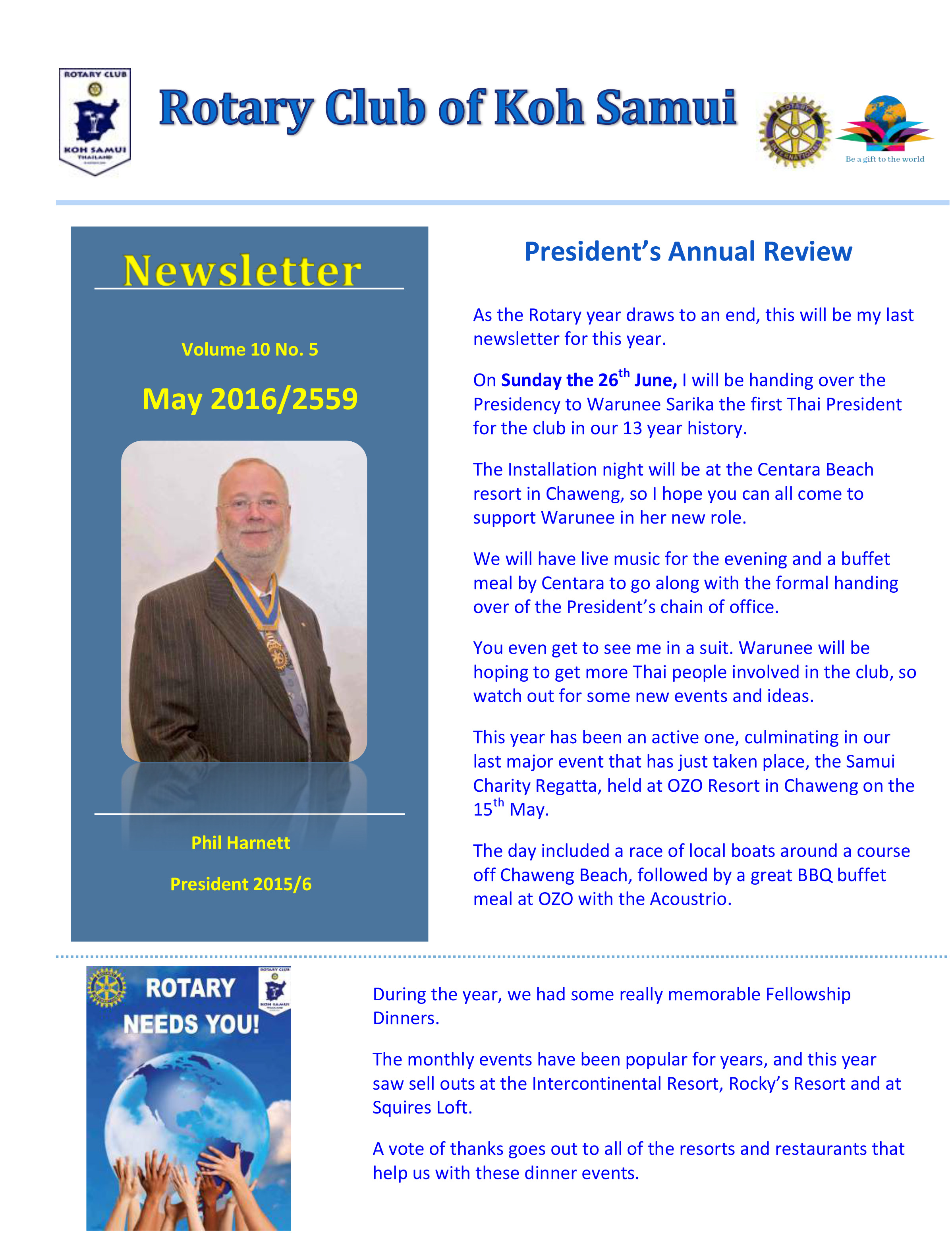 May News Letter from the Rotary Samui | Samui Times