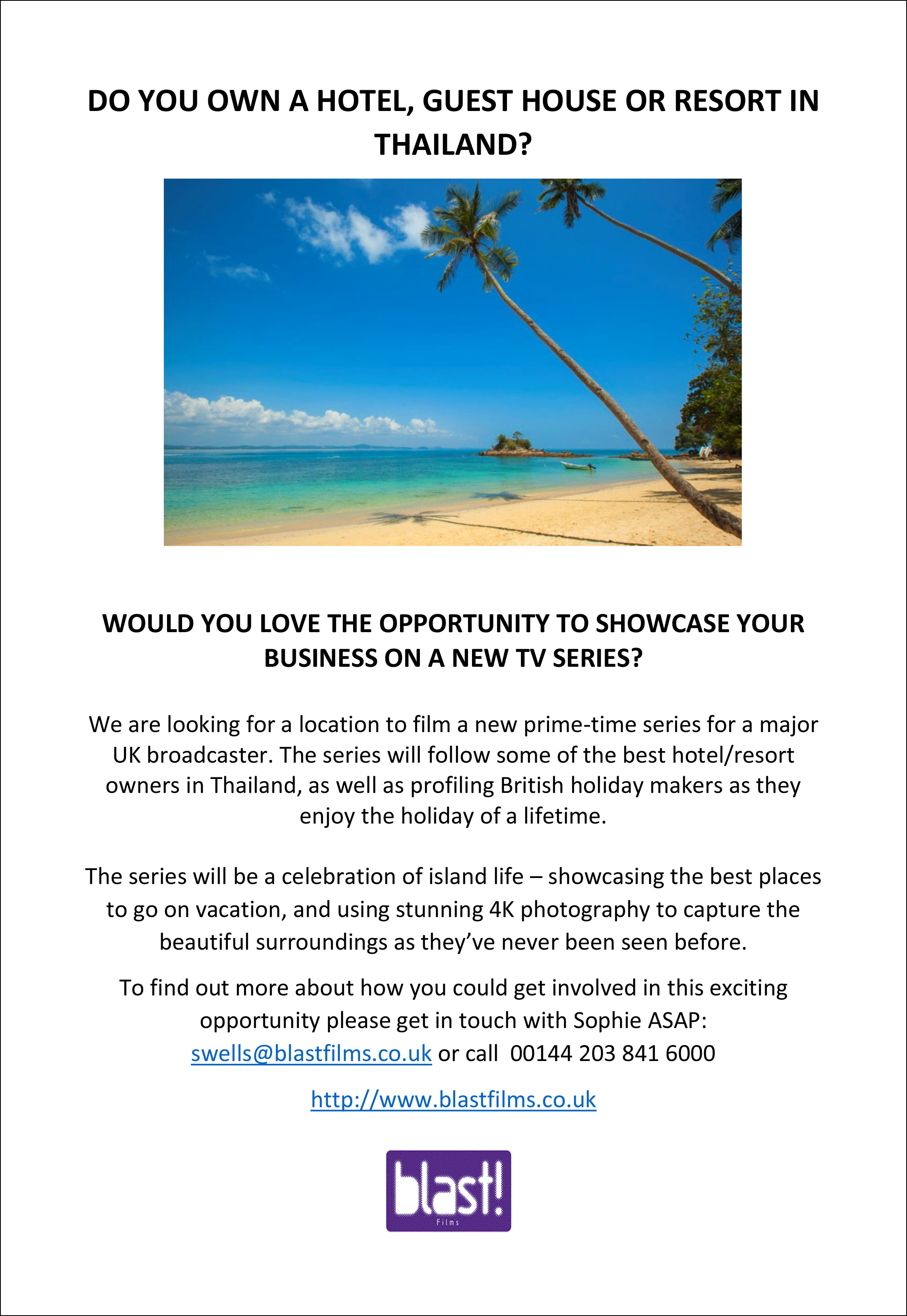 Own a hotel in Thailand? want to appear on a new TV program? | Samui Times